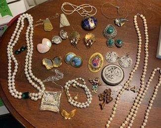 Necklaces Earrings and Pins