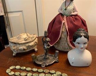 Pin Lady Trinket Box Thimble Holder and Doll Head