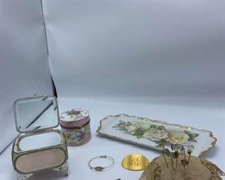 Pins and Cushion, Bracelet, Jewelry Box, and More