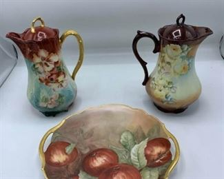Porcelain Coffee Pots and Cake Plate