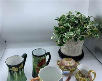 Porcelain Sugar, Creamer, Vase, and Mugs