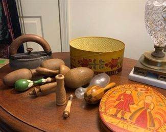 Sad Iron and Stand, Darning Eggs, and Box