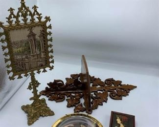 Screen Stand, Wood Shelf, W German Plate