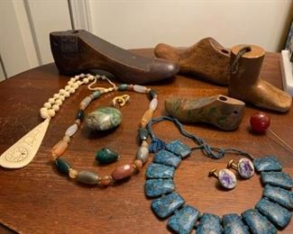 Three Necklaces, Antique Shoe Forms, and More