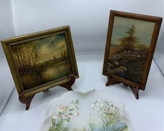 Two Paintings and Painted Dish