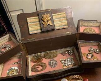 Vintage Jewelry Box and Jewelry