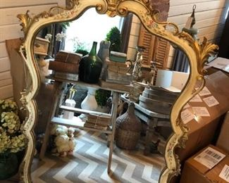 """Beautiful antique French hand painted wood mirror with floral details. Very small piece missing from the very top of the mirror but not noticeable unless you really look. Wear appropriate with age. 32"""" wide x 51"""" tall.  $245"""