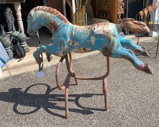 """Antique blue iron horse on stand. Originally purchased in Atlanta, George.Early 1900s. Stand was added later but still an early piece. All natural blue and red patina and rust which makes this one pretty special. Measures 44"""" across and approximately 39' high. It a gorgeous shade of blue. There is one more picture of this piece following this picture to give you a better look at front. $875 It's heavy."""