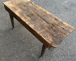 Closer view of top of Primitive Antique bench, very sturdy