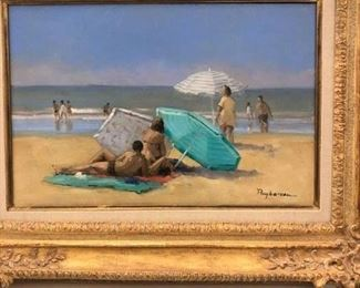 """Annie Puybareau (1955-, French) """"The Green Parasol"""", oil on canvas, titled verso in French, signed lower right, 24"""" x 18"""", framed    Asking $850"""
