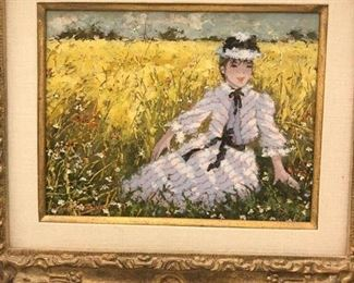 """Suzanne Eisendieck (1908-98, Germany/Poland)  """"At the Edge of the Wheat Field"""", oil on canvas, titled verso in French, signed lower left, 22"""" x 19"""", framed          Asking $1500"""