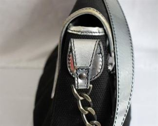 """Fendi Hobo bag – black canvas, silver patent leather trim; 6""""h x 12""""w x 3""""d Condition: Exhibits use, minor scratches, interior makeup smudges which could be cleaned                  Asking   $200"""