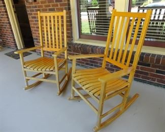 4 wooden rocking chairs