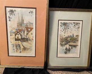 010 Henri Richy Signed Notre Dame and Paris Prints