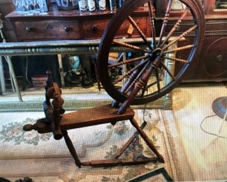 Antique Spinning Wheel with Cast Iron Fittings $320.00 (item located in storage, please contact if interested and we will arrange for the item to be on-site the day of the sale)