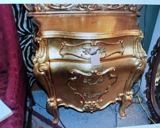 Gold Gilt Bombe Night Stand $315.00 (item located in storage, please contact if interested and we will arrange for the item to be on-site the day of the sale)