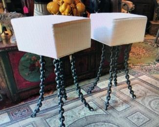 Pair of Bar Stools with Frozen Chain Legs $585.00 (item located in storage, please contact if interested and we will arrange for the item to be on-site the day of the sale)