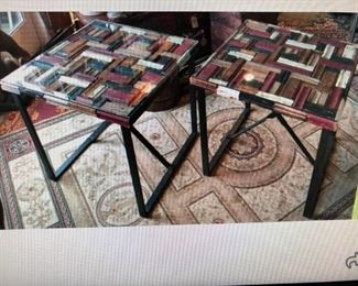 Pair of Upcycled Side Tables $240.00 (item located in storage, please contact if interested and we will arrange for the item to be on-site the day of the sale)