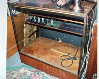 Antique Parker Display Counter $350.00 (item located in storage, please contact if interested and we will arrange for the item to be on-site the day of the sale)