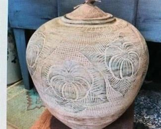 Sgraffito Decorated Lidded Urn, Terra Cotta $125.00