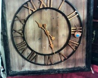 Large Metal Clock Face on Reclaimed Wood - Clock is in working order $185.00