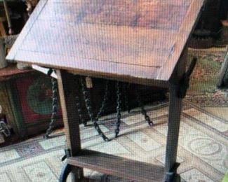 Turn of the Century Architect Desk $380.00 (item located in storage, please contact if interested and we will arrange for the item to be on-site the day of the sale)