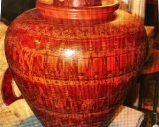 Burmese Lacquer Ware Betel Jar $190.00 ( item located in storage, please contact if interested and we will arrange for the item to be on-site the day of the sale)