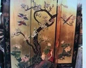 Four Panel Double Sided Asian Screen $335.00 (item located in storage, please contact if interested and we will arrange for the item to be on-site the day of the sale)