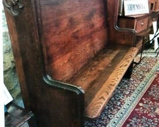 Turn of the Century Oak Pew $500.00 (item located in storage, please contact if interested and we will arrange for the item to be on-site the day of the sale)