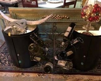 Matching End Tables, Glass Top, Door for Storage $145.00 (item located in storage, please contact if interested and we will arrange for the item to be on-site the day of the sale)