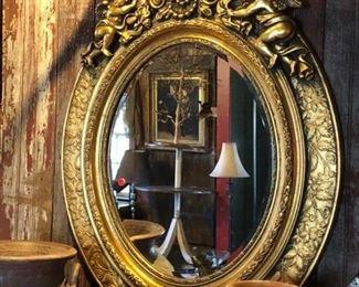 Gold Gilt Mirror with Cherubs $485.00