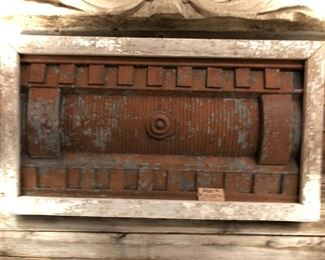 Unique Industrial Wal Art Created from Building Facade and Reclaimed Wood.   Galvanized Steel and Wood $425.00