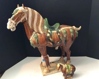 Two Tang Dynasty Style Glazed Pottery Horses $135.00