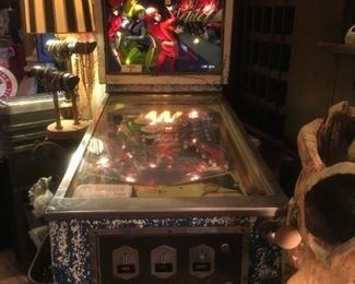 """Rare """"Mini Zag'  Pinball Machine, Circa 1968 $1050.00 ( item located in storage, please contact if interested and we will arrange for the item to be on-site the day of the sale)"""