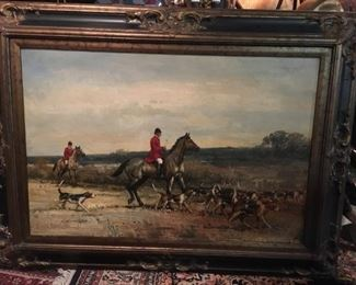 Large Oil Painting of a Hunt Scene $1320.00