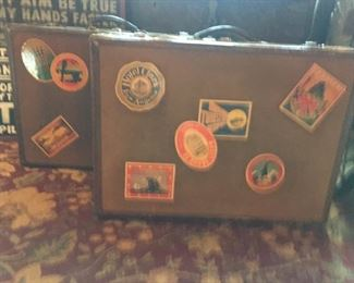 Pair of Suitcases with Interesting Travel Stickers - Great Condition $275.00