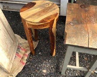 Beautiful Wood Drinks Table $140.00, End Table with Natural Stained Wood Top and Painted Base $62.00 (items located in storage, please contact if interested and we will arrange for the item to be on-site the day of the sale)
