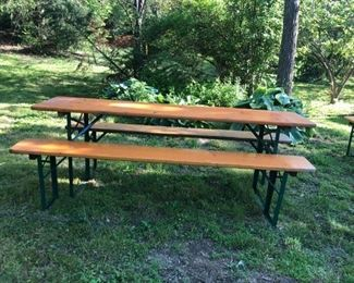 Original Beer Garden Picnic Sets, Imported from Germany, each set (I have 10) are stamped with the Garden/Brewery in Germany that originated from $275.00 per set. This is a great price