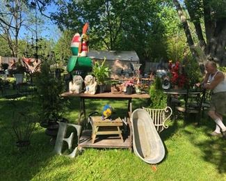 Various lawn art and statuary