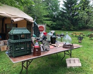 Bird cages, and vintage French wine bottles