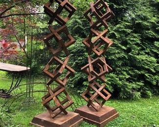"Cube sculptures, 6"" tall, steel $1650.00 a pair"