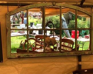 Vintage window converted to an interesting mirror $425.00