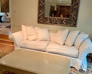 "$595 White ""Domain"" two cushion winged arm damask slip covered sofa with six down filled pillows. 98.5""W L x 27"" D x 39"" H.  Seat height 20""."