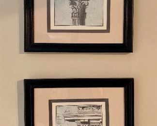 "$40 for pair Framed architectural prints.  16.5""W x 18.5H.  Sold as a pair."