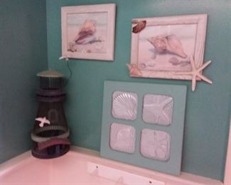 Beach Themed Wall Art and Wire Light House