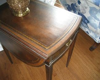 Drop leaf end table with leather top
