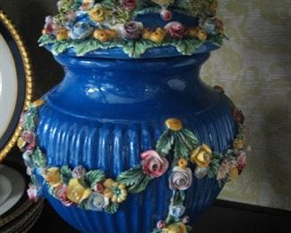 Porcelain Italian Capodimonte floral covered jar