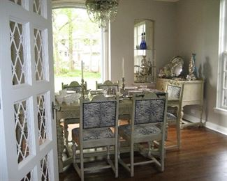 Painted antique dining room table with 6 chairs, painted buffet
