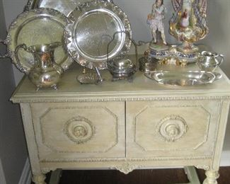 Painted buffet with silverplated holloware and Italian Capodimonte figurine and vase