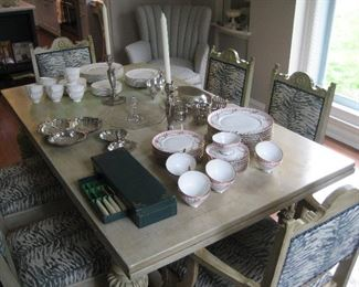 Painted antique dining room table with 6 chairs